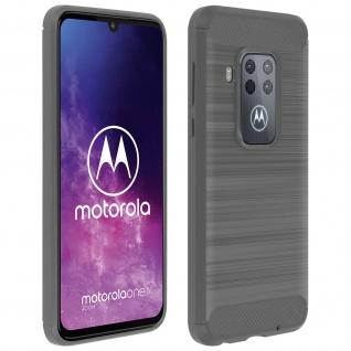 Motorola One Zoom Silikon Schutzhülle mit Carbon/Aluminium Look - Dunkelgrau