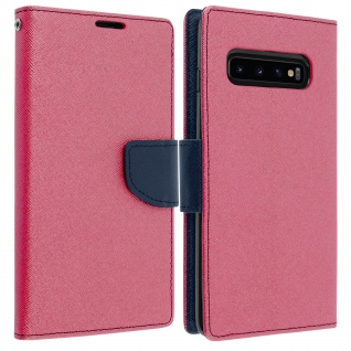 Fancy Style Cover Samsung Galaxy S10, Fach und Standfunktion - Fuchsienrot
