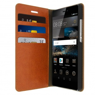 Huawei P8 Flip-Schutzhülle aus Echtleder im Brieftaschenstil - Braun