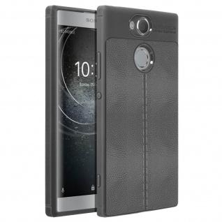 Silikon Schutzhülle aus Kunstleder stoß- kratzfest für Sony Xperia XA2 - Grau