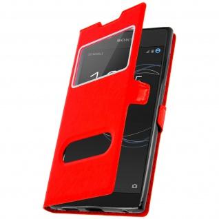Ultradünne Flip-Schutzhülle mit Doppelfenster für Sony Xperia L1 - Rot