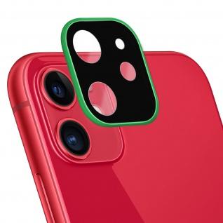 Apple iPhone 11 Rückkamera Schutzfolie aus 9H Panzerglas mit grünem Rand.