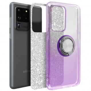 Glitter Silikonhülle mit Ring Halterung für Samsung Galaxy S20 Ultra - Violett