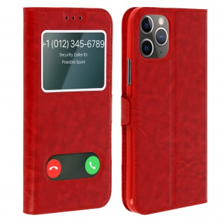 Apple iPhone 11 Pro Flip Cover Doppelfenster & Standfunktion - Rot
