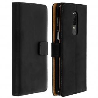 OnePlus 6 Cover aus Echtleder mit Standfunktion & Kartenfach - Schwarz