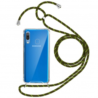 Handykette Handyhülle mit Halsband für Samsung Galaxy A30 - Grün
