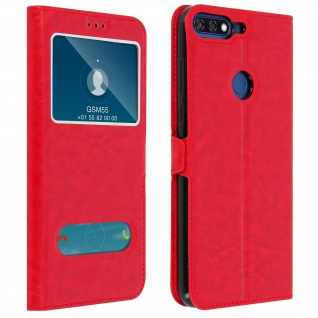 Doppelfenster Flip Cover Honor 7A / Huawei Y6 2018 mit Standfunktion - Rot