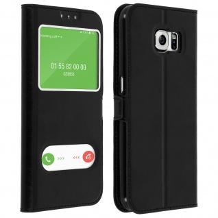 Flip Cover Doppelfenster & Standfunktion, Klappetui Samsung Galaxy S6 - Schwarz