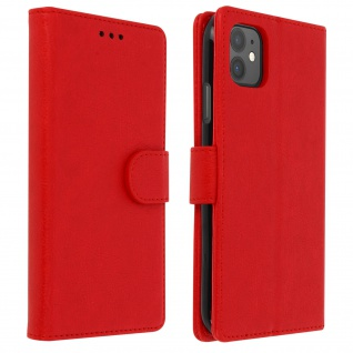 Flip Cover Geldbörse, Klappetui Kunstleder für Apple iPhone 11 ? Rot