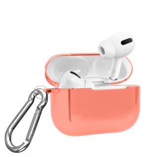 Apple Airpods Pro Metallic Schutzhülle + abnehmbarer Karabinerhaken - Rosa