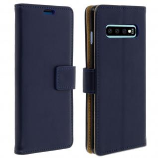 Soft Touch Flip-Cover Geldbörse mit Standfunktion für Galaxy S10 - Dunkelblau