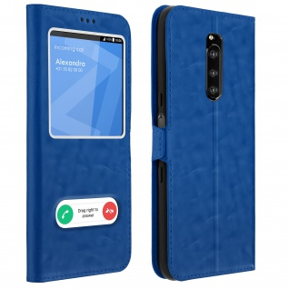 Sony Xperia 1 Flip Cover Doppelfenster & Standfunktion - Blau