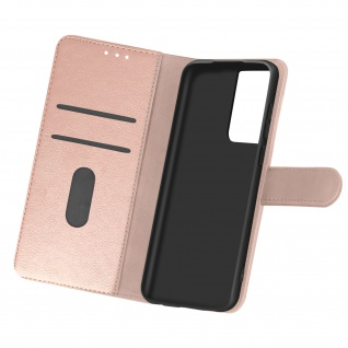 Flip Cover Geldbörse, Etui Kunstleder für Samsung Galaxy S21 Ultra ? Rosegold
