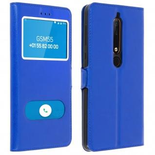 Flip Cover Doppelfenster & Standfunktion, Klappetui für Nokia 6.1 - Blau