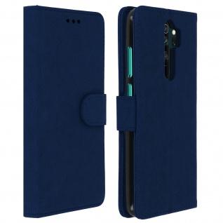 Flip Cover Geldbörse, Klappetui Kunstleder Xiaomi Redmi Note 8 Pro â€? Dunkelblau