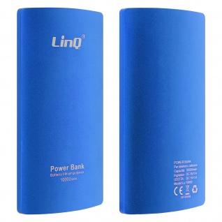10 000mAh PowerBank, 2A USB 2-in-1 Lightning / Micro USB Kabel LinQ - Blau