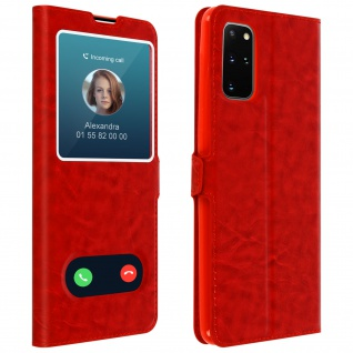 Samsung Galaxy S20 Plus Flip Cover Doppelfenster & Standfunktion - Rot