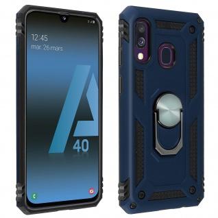 Hybrid Handyhülle mit Ring Halterung für Samsung Galaxy A40 ? Dunkelblau