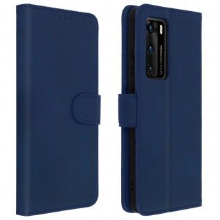 Flip Cover Geldbörse, Klappetui Kunstleder für Huawei P40 - Blau