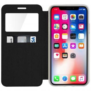Apple iPhone X Flip-Schutzhülle mit Sichtfenster und Kartenfach - Schwarz - Vorschau 3