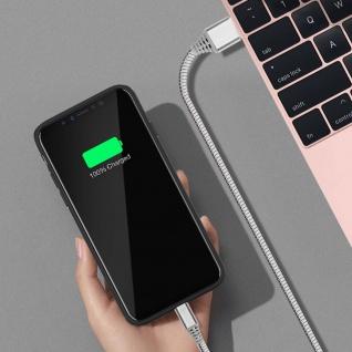 Micro-USB / USB-Ladekabel Aluminium, Aufladen & Synchronisation 1m - Silber - Vorschau 3