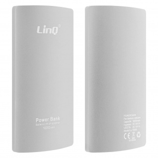 10 000mAh PowerBank, 2A USB 2-in-1 Lightning / Micro USB Kabel LinQ - Silber