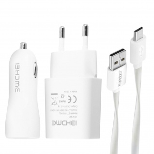 3-in-1 Ladegerät-Set: Netzteil + Zigaretten-Anzünder + Micro-USB Ladekabelâ€? Weiß