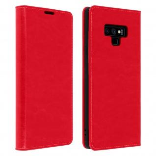 Business Leder Cover, Schutzhülle mit Geldbörse für Galaxy Note 9 - Rot