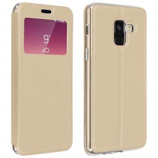 Samsung Galaxy A8 Flip Case mit Sichtfenster und Kartenfach Gold - Standfunktion