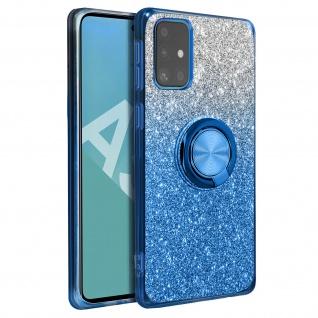 Glitter Silikonhülle mit Ring Halterung für Samsung Galaxy A51 - Blau - Vorschau 2