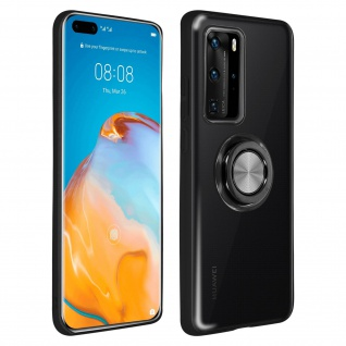 Schutzhülle mit Ring Halterung für Huawei P40 Pro ? Schwarz