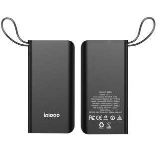 10.000mAh Powerbank mit Lightning Kabel + 1x USB Anschluss � Ipipoo LP-12