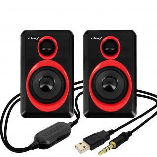 LinQ A5000 3, 5 mm Desktop-Lautsprechersystem 3W x 2 � Schwarz / Rot