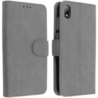 Flip Cover Geldbörse, Klappetui Kunstleder für Huawei Y5 2019 â€? Grau