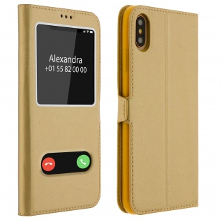 Apple iPhone XS Max Flip Cover mit Doppelfenster & Standfunktion - Gold