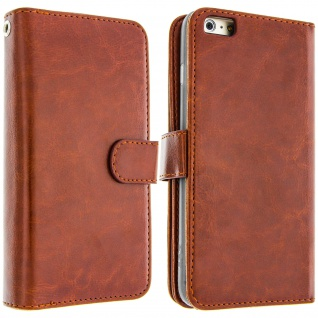 Flip-Cover Case im Brieftaschenstil für Apple iPhone 6, 6s - Braun