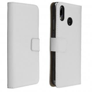 Huawei P20 Lite Cover aus Echtleder mit Standfunktion & Kartenfach - Weiß