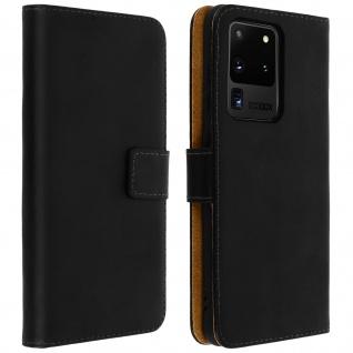 Samsung Galaxy S20 Ultra Cover aus Echtleder mit Standfunktion- Schwarz