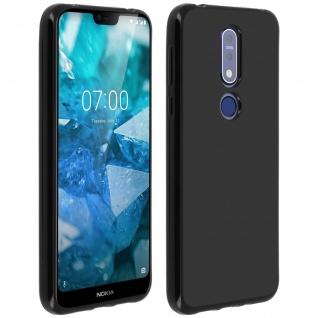 Flexible kratzfeste Schutzhülle aus Silikon für Nokia 7.1 - Schwarz