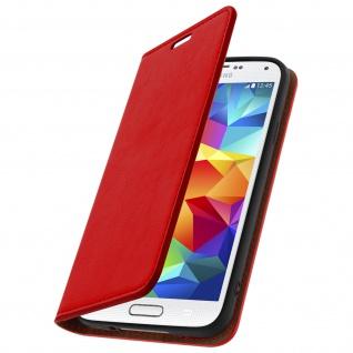 Galaxy S5, S5 Neo Flip-Schutzhülle aus Echtleder im Brieftaschenstil - Rot