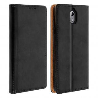 Nokia 3.1 Cover aus Echtleder mit Standfunktion & Kartenfach - Schwarz