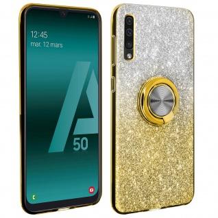 Glitter Silikonhülle mit Ring Halterung für Samsung Galaxy A50 - Gelb