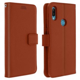 Huawei Y6 2019 Flip-Cover mit Kartenfächern & Standfunktion - Braun