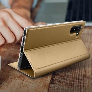 Flip Cover, Klappetui mit Kartenfach & Standfunktion Samsung Galaxy Note 10 Gold - Vorschau 5