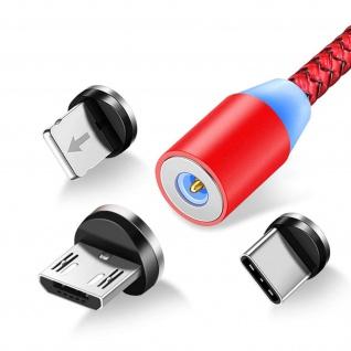 3-in-1-Magnetkabel, 1.2m USB-C / Micro-USB / Lightning Kabel - Rot