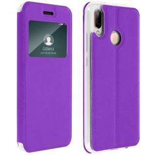 Huawei P20 Lite Flip Cover Sichtfenster & Kartenfach - Violett