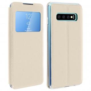 Samsung Galaxy S10 Flip Cover Sichtfenster & Kartenfach - Gold