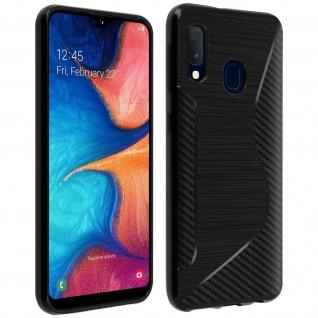 Backcover Samsung Galaxy A20e S-Line Silikonhülle, Carbon Optik - Schwarz