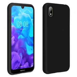 Halbsteife Silikon Handyhülle Huawei Y5 2019 / Honor 8S, Soft Touch - Schwarz
