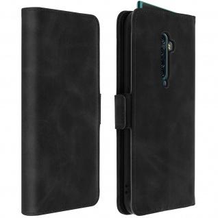 Soft Touch Flip-Cover Geldbörse mit Standfunktion für Oppo Reno 2 - Schwarz